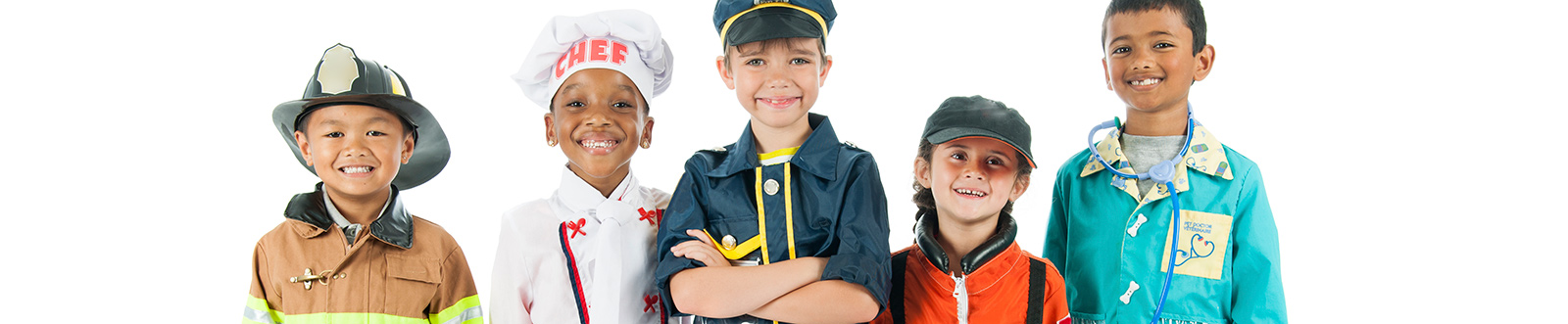Smiling children in career themed costumes